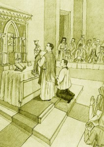 Illustration: Father Anthony leading mass, facing the altar, holding up the chalice