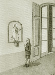 Illustration of a young Anthony Gallo praying