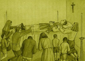 Illustration: Father Anthony lying while others pray by his side