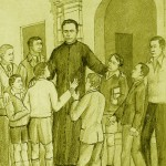 Illustration: Father Anthony surrounded by children
