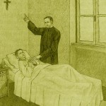 Illustration: Father Anthony standing bed-side a sick child in hospital